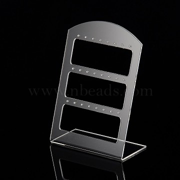 Organic Glass Earring Display Racks, L-Shaped Earring Display Stand, Clear, 140x100x50~52mm(X-EDIS-N001-02B)