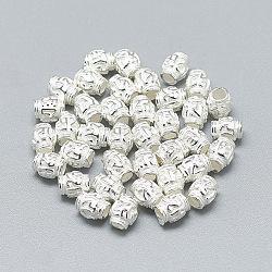 Perles 925 en argent sterling, baril, argenterie, 5x4mm, Trou: 2mm(X-STER-T002-293S)