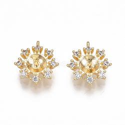 pendentifs en forme de zircon cubique en laiton, pour perle à moitié percée, fleur, effacer, véritable plaqué or, 11.5x10x3.5 mm, trou: 0.8 mm; broches: 1 mm(KK-S350-124G)
