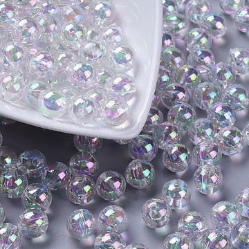 Eco-Friendly Transparent Acrylic Beads, Round, AB Color, Clear AB, 10mm, Hole: 2mm(X-PL735-2)