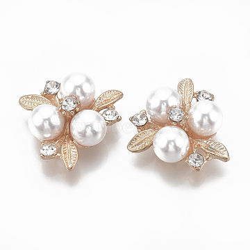 Alloy Cabochons, with Rhinestone and ABS Plastic Imitation Pearl, Flower, Creamy White, Light Gold, 23x23x9mm(X-PALLOY-S065-06)