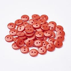 2-дырочные плоские круглые смолы швейные кнопки для дизайна костюма, коралл, 9x2 мм, отверстие : 1 мм(BUTT-E119-14L-08)