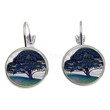 Brass Leverback Earrings, with Picture Glass, Flat Round with Tree of Life Pattern, Silver Color Plated, Prussian Blue, 28mm; Pin: 0.8mm(EJEW-O088-13)
