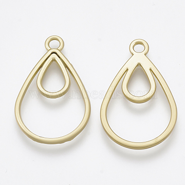 Smooth Surface Alloy Open Back Bezel Pendants, For DIY UV Resin, Epoxy Resin, Pressed Flower Jewelry, teardrop, Matte Gold Color, 24x15.5x1.5mm, Hole: 1.5mm(X-PALLOY-S117-148)