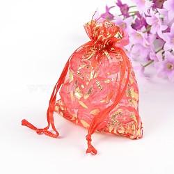 Motif floral organza sacs, rectangle, firebrick, Taille: environ 9 cm de long, 7 cm de largeur(X-OP-9X7-3)