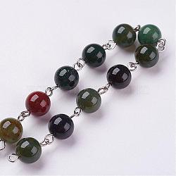 """Chaînes de perles d'agate indiennes naturelles faites à la main, non soudée, avec épingle à oeil en fer, 39.37"""" (1m)(AJEW-JB00291)"""