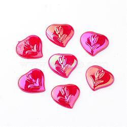 Cabochons acryliques, de couleur plaquée ab , cœur, rouge, 13x14x3mm(MACR-Q180-01)