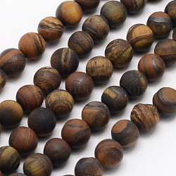 Natural Tiger Eye Beads Strands, Frosted, Round, 8mm, Hole: 1mm; about 48pcs/strand, 15.1inches