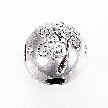 Tibetan Style Alloy 3-Hole Guru Beads, T-Drilled Beads, Cadmium Free & Lead Free & Nickel Free, Round with Tree, Antique Silver, 8mm, Hole: 2~2.5mm(X-PALLOY-AD68173-AS-NR)