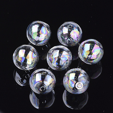 Handmade Blown Glass Globe Beads, AB Color Plated, Round, Clear AB, 14~14.5x14mm, Hole: 1.5~2mm(DH017J-1-14mm-AB)