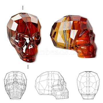 Austrian Crystal Rhinestone Beads, 5750, Crystal Passions, Faceted, Skull, 001 REDM_Crystak Red Magma, 19x13x10mm, Hole: 1mm(5750-19mm-001REDM(U))