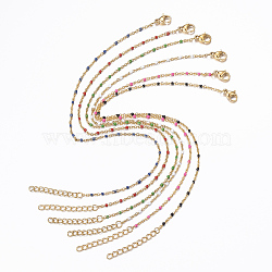304 Stainless Steel Cable Chain Anklets, with Enamel Links, Golden, Mixed Color, 9inches(23cm); 1.5~2mm(AJEW-H010-01)