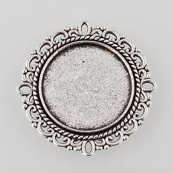 paramètres alliage bac à fleurs cabochon de style tibétain, argent antique, plateau: 19 mm; 31x2 mm(X-TIBE-M021-06AS)
