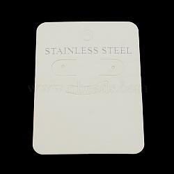 Cartes d'affichage de clou d'oreille en carton, rectangle avec mot acier inoxydable, blanc, 70x50x0.5mm, Trou: 6mm(X-CDIS-R030-06)