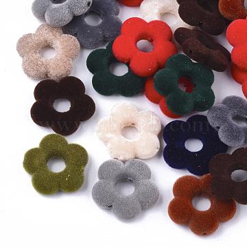 Flocky Acrylic Bead Frames, Flower, Mixed Color, 19x19.5x5mm, Hole: 1mm; Inner Diameter: 6mm(OACR-T005-05)