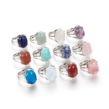 Adjustable Natural & Synthetic Gemstone Rings, with 304 Stainless Steel Findings, Oval, US Size 7 1/2(17.7mm)(RJEW-O033-C)