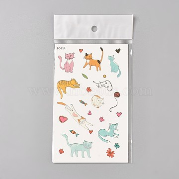 Removable Kitten Fake Temporary Tattoos, Water Proof, Cartoon  Paper Stickers, Cat, Colorful, 120~121.5x75mm(AJEW-WH0061-B08)