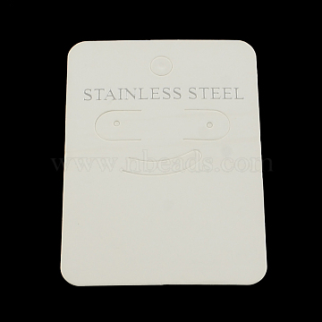 Cardboard Ear Stud Display Cards, Rectangle with Word Stainless Steel, White, 70x50x0.5mm, Hole: 6mm(X-CDIS-R030-06)