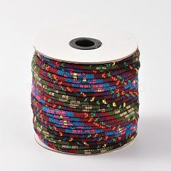 Cordes ethniques en tissu, brun, 6 mm; environ 50 mètres / rouleau(OCOR-F003-6mm-05)