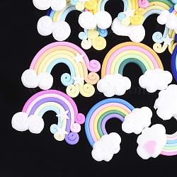 main en pate polymère cabochons, arc en ciel, couleur mélangée, 24~30x32~41x4~5 mm(X-CLAY-S091-08B)