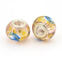 image de fleur en verre imprimé perles européennes, grand trou perles rondelle, avec des noyaux de laiton de ton argent, rose, 14x11 mm, trou: 5 mm(GPDL-J029-F25)