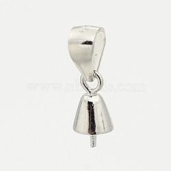 pendentifs en argent sterling à la mode, pour la moitié de perles percées, platine, 9x4.5 mm, trou: 5x3 mm; broches: 0.6 mm(STER-M088-25)