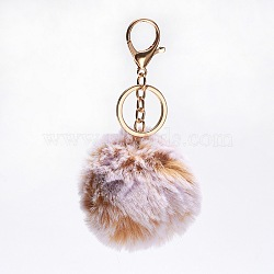 Pom Pom Ball Keychain, with Alloy Lobster Claw Clasps, Iron Key Ring and Chain, Round, Golden, SandyBrown, 108mm(X-KEYC-L017-A10)