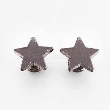 Alloy Rivet Studs, For Purse, Bags, Boots, Leather Crafts Decoration, Star, Gunmetal, 12x12x8mm(PALLOY-WH0022-01C-B)