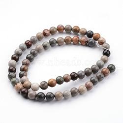 """Océan naturelle brins de perles de jaspe, rond, 6~7mm, trou: 1mm; environ 61 pcs/chapelet, 15.75""""(G-K152-06-6mm)"""