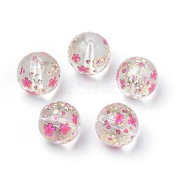 Perles en verre imprimées, ronde avec motif de fleurs, clair, 11~12x11mm, Trou: 1.5mm(GFB-Q001-12mm-E01)