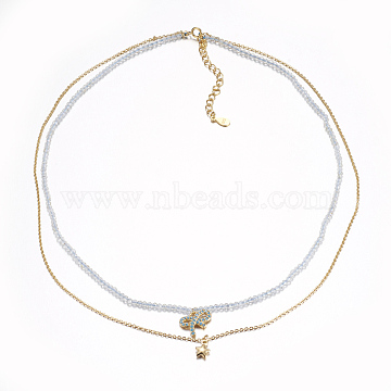 Faceted Natural Topaz Crystal Tiered Necklaces, Double Layer Necklaces, with Brass  Charms, Bowknot & Star, 15.7~16.3inches(40~41.5cm)(NJEW-F212-10G)