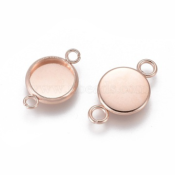 304 Stainless Steel Cabochon Connector Settings, Plain Edge Bezel Cups, Flat Round, Rose Gold, Tray: 8mm; 17x10x2mm, Hole: 2mm(X-STAS-F191-15RG-B)
