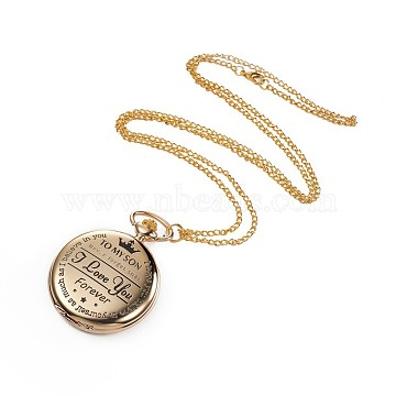 Alloy Pendant Necklace Quartz Pocket Watches, with Iron Chains and Lobster Claw Clasps, Flat Round with Word, Golden, 31.1 inches(79cm)(WACH-L044-06G)