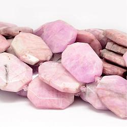 """Chapelets de perles en kunzite naturelle, facette, nuggets, 25~31x33~40x8mm, trou: 1mm; environ 10 pcs/chapelet, 15.7""""(G-P133-01)"""