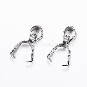 304 Stainless Steel Pendant Pinch Bails, Stainless Steel Color, 13x7x2.5mm, Hole: 5x3.5mm(STAS-G179-07P)