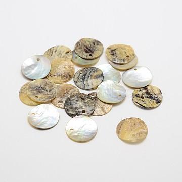 Flat Round Natural Akoya Shell Pendants, Mother of Pearl Shell Pendants, Tan, 18x1~2mm, Hole: 1.5mm; about 1440pcs/bag(SHEL-N031-10)