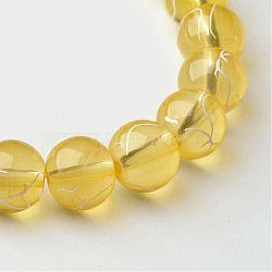 """Chapelets de perles en verre transparent drawbench, peint à la bombe, rond, verge d'or, 8 mm; trou: 1.3~1.6 mm, 31.4""""(GLAD-Q012-8mm-06)"""