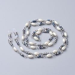 lunettes cordes cou cordon, sangle porte-lunettes, de billes de verre, pièces en verre imitation perle et 304 en acier inoxydable, bleu, 29.33 (74.5 cm); 3~4 mm(AJEW-EH00002-03)