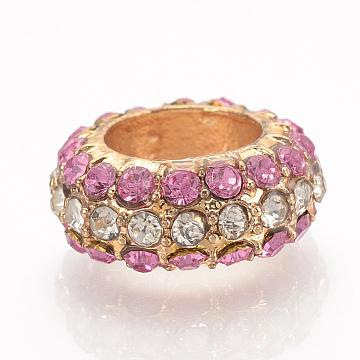 Alloy Rhinestone Beads, Large Hole Beads, Column, Golden, Light Rose, 15x6mm, Hole: 8.5mm(ALRI-T005-35D-G)
