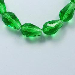 стекло бисер нитей, граненый, падение, зеленый, 6x4 mm, отверстия: 1 mm; о 72 шт / прядь, 15(X-GLAA-R024-6x4mm-6)