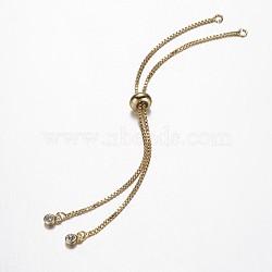 """Création de bracelet avec chaîne en laiton, Bracelets coulissants, avec zircons, or, 9-7/8"""" (25.2cm); 1mm, Trou: 2mm(X-KK-G290-09G)"""