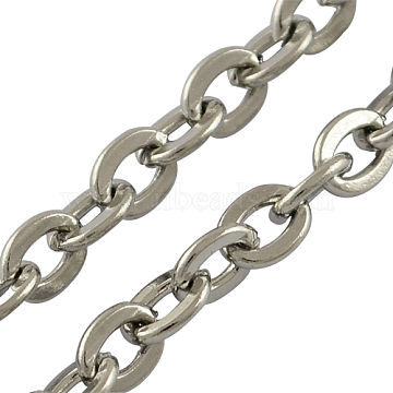 316 Surgical Stainless Steel Cable Chains, Soldered, Flat Oval, Stainless Steel Color, 3x2x0.6mm(X-CHS-R002-0.6mm)