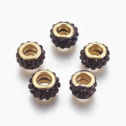 Perles européennes artisanales en pâte de polymère, Perles avec un grand trou   , avec ame en laiton, plat rond, or, DarkRed, 11.5x7mm, Trou: 5mm(CLAY-O002-01G-B)