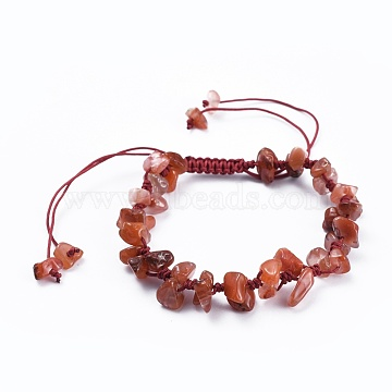 Adjustable Natural Carnelian Chip Beads Braided Bead Bracelets, with Nylon Thread, 1-7/8 inches(4.8cm)(BJEW-JB04392-05)
