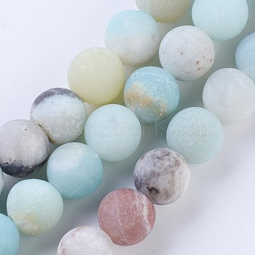 Frosted Natural Flower Amazonite Round Bead Strands, 8~8.5mm, Hole: 1mm, about 47pcs/strand, 15.5 inches(X-G-E334-8mm-09)