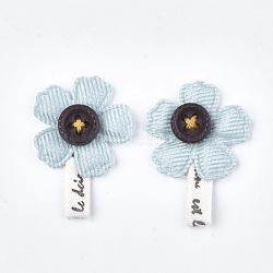 Accessoires de costume de coton fait main, fleur, Aqua, 33~36x24~25x4~5mm(FIND-T021-14B)