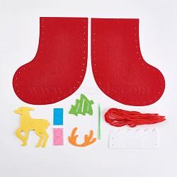 Bas de noël créatifs en tissu non tissé, emballage de matériel de bricolage, décoration de noël à la main, sac cadeau accessoires de couture, rouge, 33~175x19~138mm(DIY-WH0059-03)