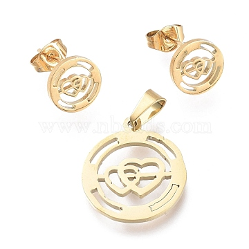 Valentine's Day 304 Stainless Steel Jewelry Sets, Pendants and Stud Earrings, with Ear Nuts, Flat Round with Heart with Heart, Golden, 19x16.5x1mm, Hole: 5x3.5mm; 9mm, Pin: 0.7mm(SJEW-K154-05G)