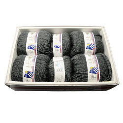 Baby Knitting Yarns, with Wool, Antistatic Fibre and Velvet, Gray, 2mm; about 100g/roll: 4rolls; 50g/roll: 2rolls, 6rolls/box(YCOR-R027-905)