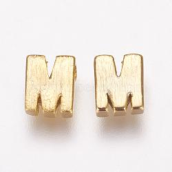 Breloques en laiton, véritable 18k plaqué or, letter.m, 5x4x2mm, Trou: 1mm(KK-P081-M)